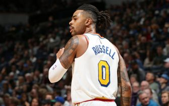 MINNEAPOLIS, MN - NOVEMBER 8: D'Angelo Russell #0 of the Golden State Warriors looks on during a game against the Minnesota Timberwolves on November 8, 2019 at Target Center in Minneapolis, Minnesota. NOTE TO USER: User expressly acknowledges and agrees that, by downloading and or using this Photograph, user is consenting to the terms and conditions of the Getty Images License Agreement. Mandatory Copyright Notice: Copyright 2019 NBAE (Photo by David Sherman/NBAE via Getty Images)