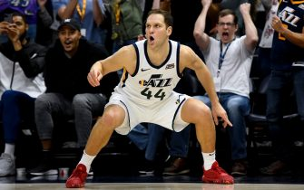 SALT LAKE CITY, UT - NOVEMBER 08: Bojan Bogdanovic #44 of the Utah Jazz celebrates after hitting a game winning shot against the Milwaukee Bucks at Vivint Smart Home Arena on November 8, 2019 in Salt Lake City, Utah. NOTE TO USER: User expressly acknowledges and agrees that, by downloading and/or using this photograph, user is consenting to the terms and conditions of the Getty Images License Agreement.  (Photo by Alex Goodlett/Getty Images)