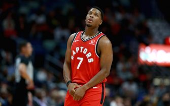 NEW ORLEANS, LOUISIANA - NOVEMBER 08: Kyle Lowry #7 of the Toronto Raptors holds his left thumb after sustaining an injury during a NBA game against the New Orleans Pelicans at the Smoothie King Center on November 08, 2019 in New Orleans, Louisiana. NOTE TO USER: User expressly acknowledges and agrees that, by downloading and or using this photograph, User is consenting to the terms and conditions of the Getty Images License Agreement.  (Photo by Sean Gardner/Getty Images)