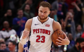 DETROIT, MI - OCTOBER 23:  Blake Griffin #23 of the Detroit Pistons celebrates a 133-132 overtime win over the Philadelphia 76ers at Little Caesars Arena on October 23, 2018 in Detroit, Michigan. NOTE TO USER: User expressly acknowledges and agrees that, by downloading and or using this photograph, User is consenting to the terms and conditions of the Getty Images License Agreement. (Photo by Gregory Shamus/Getty Images)