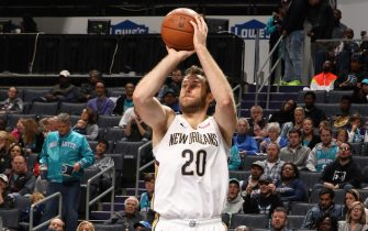 CHARLOTTE, NC - NOVEMBER 9: Nicolo Melli #20 of the New Orleans Pelicans shoots the ball against the Charlotte Hornets on November 9, 2019 at Spectrum Center in Charlotte, North Carolina. NOTE TO USER: User expressly acknowledges and agrees that, by downloading and or using this photograph, User is consenting to the terms and conditions of the Getty Images License Agreement.  Mandatory Copyright Notice:  Copyright 2019 NBAE (Photo by Brock Williams-Smith/NBAE via Getty Images)
