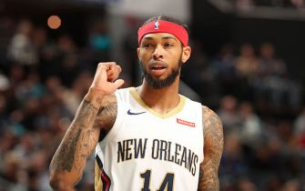 CHARLOTTE, NC - NOVEMBER 9: Brandon Ingram #14 of the New Orleans Pelicans looks on during the game against the Charlotte Hornets on November 9, 2019 at Spectrum Center in Charlotte, North Carolina. NOTE TO USER: User expressly acknowledges and agrees that, by downloading and or using this photograph, User is consenting to the terms and conditions of the Getty Images License Agreement.  Mandatory Copyright Notice:  Copyright 2019 NBAE (Photo by Kent Smith/NBAE via Getty Images)