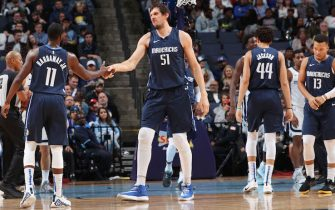 MEMPHIS, TN - NOVEMBER 9: Tim Hardaway Jr. #11 of the Dallas Mavericks and Boban Marjanovic #51 of the Dallas Mavericks celebrate during the game against the Memphis Grizzlies on November  9, 2019 at FedExForum in Memphis, Tennessee. NOTE TO USER: User expressly acknowledges and agrees that, by downloading and or using this photograph, User is consenting to the terms and conditions of the Getty Images License Agreement. Mandatory Copyright Notice: Copyright 2019 NBAE (Photo by Joe Murphy/NBAE via Getty Images)