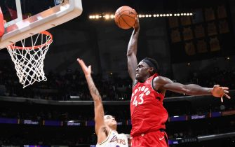 LOS ANGELES, CA - NOVEMBER 10: Pascal Siakam #43 of the Toronto Raptors dunks the ball against the Los Angeles Lakers on November 10, 2019 at STAPLES Center in Los Angeles, California. NOTE TO USER: User expressly acknowledges and agrees that, by downloading and/or using this Photograph, user is consenting to the terms and conditions of the Getty Images License Agreement. Mandatory Copyright Notice: Copyright 2019 NBAE (Photo by Andrew D. Bernstein/NBAE via Getty Images)