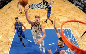 ORLANDO, FL - NOVEMBER 10:  Domantas Sabonis #11 of the Indiana Pacers shoots the ball gainst the Orlando Magic on November 10, 2019 at Amway Center in Orlando, Florida. NOTE TO USER: User expressly acknowledges and agrees that, by downloading and or using this photograph, User is consenting to the terms and conditions of the Getty Images License Agreement. Mandatory Copyright Notice: Copyright 2019 NBAE (Photo by Fernando Medina/NBAE via Getty Images)