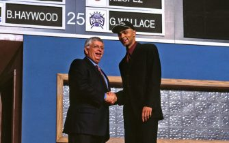 NEW YORK, NY - JUNE 27: Tony Parker poses with David Stern after being drafted by the San Antonio Spurs on June 27, 1994 at the The Theater at Madison Square Garden in New York, New York. NOTE TO USER: User expressly acknowledges and agrees that, by downloading and or using this photograph, User is consenting to the terms and conditions of the Getty Images License Agreement. Mandatory Copyright Notice: Copyright 2001 NBAE (Photo by Nathaniel S. Butler/NBAE via Getty Images)