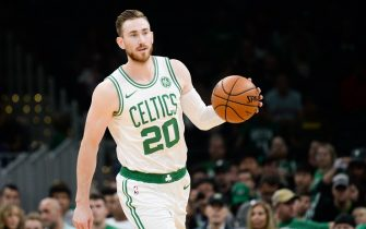 BOSTON, MA - OCTOBER 13: Gordon Hayward #20 of the Boston Celtics handles the ball in the first quarter against the Cleveland Cavaliers at TD Garden on October 13, 2019 in Boston, Massachusetts. NOTE TO USER: User expressly acknowledges and agrees that, by downloading and or using this photograph, User is consenting to the terms and conditions of the Getty Images License Agreement. (Photo by Kathryn Riley/Getty Images)