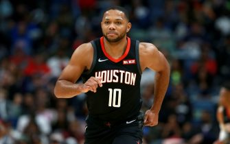 NEW ORLEANS, LOUISIANA - NOVEMBER 11: Eric Gordon #10 of the Houston Rockets stands on the court during a NBA game against the New Orleans Pelicans  at the Smoothie King Center on November 11, 2019 in New Orleans, Louisiana. NOTE TO USER: User expressly acknowledges and agrees that, by downloading and or using this photograph, User is consenting to the terms and conditions of the Getty Images License Agreement. (Photo by Sean Gardner/Getty Images)