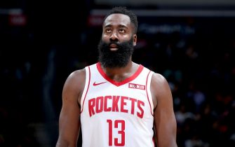 WASHINGTON, DC - OCTOBER 30: James Harden #13 of the Houston Rockets looks on against the Washington Wizards on October 30, 2019 at Capital One Arena in Washington, DC. NOTE TO USER: User expressly acknowledges and agrees that, by downloading and or using this Photograph, user is consenting to the terms and conditions of the Getty Images License Agreement. Mandatory Copyright Notice: Copyright 2019 NBAE (Photo by Stephen Gosling/NBAE via Getty Images)