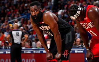 NEW ORLEANS, LA - NOVEMBER 11: James Harden #13 of the Houston Rockets looks on during the game against the New Orleans Pelicans on November 11, 2019 at the Smoothie King Center in New Orleans, Louisiana. NOTE TO USER: User expressly acknowledges and agrees that, by downloading and or using this Photograph, user is consenting to the terms and conditions of the Getty Images License Agreement. Mandatory Copyright Notice: Copyright 2019 NBAE (Photo by Jeff Haynes/NBAE via Getty Images)