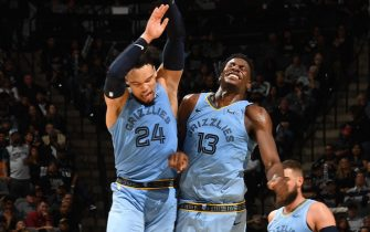 SAN ANTONIO, TX - NOVEMBER 11: Dillon Brooks #24 of the Memphis Grizzlies and Jaren Jackson Jr. #13 of the Memphis Grizzlies reacts during a game against the San Antonio Spurs on November 11, 2019 at the AT&T Center in San Antonio, Texas. NOTE TO USER: User expressly acknowledges and agrees that, by downloading and or using this photograph, user is consenting to the terms and conditions of the Getty Images License Agreement. Mandatory Copyright Notice: Copyright 2019 NBAE (Photos by Andrew D. Bernstein/NBAE via Getty Images)