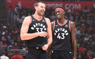 LOS ANGELES, CA - NOVEMBER 11: Marc Gasol #33 of the Toronto Raptors and Pascal Siakam #43 of the Toronto Raptors seen on court during the game against the LA Clippers on November 11, 2019 at STAPLES Center in Los Angeles, California. NOTE TO USER: User expressly acknowledges and agrees that, by downloading and/or using this Photograph, user is consenting to the terms and conditions of the Getty Images License Agreement. Mandatory Copyright Notice: Copyright 2019 NBAE (Photo by Adam Pantozzi/NBAE via Getty Images)