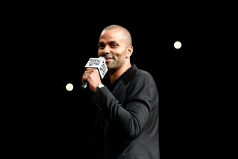 SAN ANTONIO, TX - NOVEMBER 11: NBA Legend, Tony Parker speaks at his jersey retirement on November 11, 2019 at the AT&T Center in San Antonio, Texas. NOTE TO USER: User expressly acknowledges and agrees that, by downloading and or using this photograph, user is consenting to the terms and conditions of the Getty Images License Agreement. Mandatory Copyright Notice: Copyright 2019 NBAE (Photos by Logan Riely/NBAE via Getty Images)