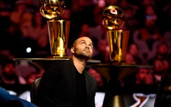 SAN ANTONIO, TX - NOVEMBER 11: NBA Legend, Tony Parker looks on during his jersey retirement on November 11, 2019 at the AT&T Center in San Antonio, Texas. NOTE TO USER: User expressly acknowledges and agrees that, by downloading and or using this photograph, user is consenting to the terms and conditions of the Getty Images License Agreement. Mandatory Copyright Notice: Copyright 2019 NBAE (Photos by Logan Riely/NBAE via Getty Images)
