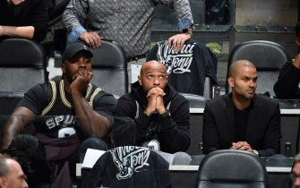SAN ANTONIO, TX - NOVEMBER 11: Pro Soccer Coach, Thierry Henry, and NBA Legend, Tony Parker attend a game between the Memphis Grizzlies and the San Antonio Spurs on November 11, 2019 at the AT&T Center in San Antonio, Texas. NOTE TO USER: User expressly acknowledges and agrees that, by downloading and or using this photograph, user is consenting to the terms and conditions of the Getty Images License Agreement. Mandatory Copyright Notice: Copyright 2019 NBAE (Photos by Logan Riely/NBAE via Getty Images)