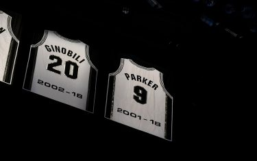 SAN ANTONIO, TX - NOVEMBER 11: A shot of Tony Parker jersey being retired and raise into the rafters on November 11, 2019 at the AT&T Center in San Antonio, Texas. NOTE TO USER: User expressly acknowledges and agrees that, by downloading and or using this photograph, user is consenting to the terms and conditions of the Getty Images License Agreement. Mandatory Copyright Notice: Copyright 2019 NBAE (Photos by Logan Riely/NBAE via Getty Images)