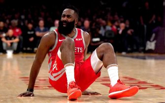 LOS ANGELES, CA - OCTOBER 20:  James Harden #13 of the Houston Rockets reacts for a foul as he falls on the court during the second quarter against the Los Angeles Lakers at Staples Center on October 20, 2018 in Los Angeles, California.  (Photo by Harry How/Getty Images)