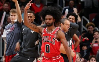 CHICAGO, IL - NOVEMBER 12: Coby White #0 of the Chicago Bulls reacts to a play during the game against the New York Knicks on November 12, 2019 at the United Center in Chicago, Illinois. NOTE TO USER: User expressly acknowledges and agrees that, by downloading and or using this photograph, user is consenting to the terms and conditions of the Getty Images License Agreement.  Mandatory Copyright Notice: Copyright 2019 NBAE (Photo by Gary Dineen/NBAE via Getty Images)