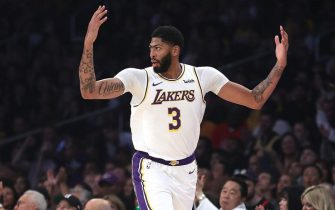 LOS ANGELES, CALIFORNIA - OCTOBER 27:  Anthony Davis #3 of the Los Angeles Lakers looks on after a shot during the first half of a game against the Charlotte Hornets at Staples Center on October 27, 2019 in Los Angeles, California. (Photo by Sean M. Haffey/Getty Images)