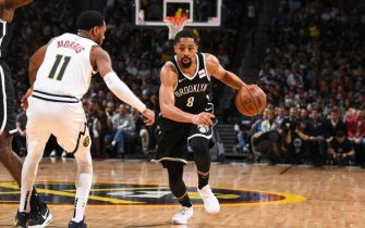 DENVER, CO - NOVEMBER 14: Spencer Dinwiddie #8 of the Brooklyn Nets handles the ball against the Denver Nuggets on November 14, 2019 at the Pepsi Center in Denver, Colorado. NOTE TO USER: User expressly acknowledges and agrees that, by downloading and/or using this Photograph, user is consenting to the terms and conditions of the Getty Images License Agreement. Mandatory Copyright Notice: Copyright 2019 NBAE (Photo by Garrett Ellwood/NBAE via Getty Images)