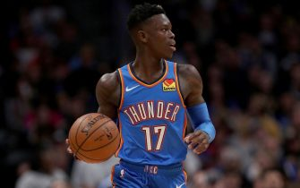 DENVER, COLORADO - DECEMBER 14: Dennis Schroder #17  of the Oklahoma City Thunder brings the ball down the court against the Denver Nuggets at Pepsi Center on December 14, 2019 in Denver, Colorado. NOTE TO USER: User expressly acknowledges and agrees that, by downloading and or using this photograph, User is consenting to the terms and conditions of the Getty Images License Agreement. (Photo by Matthew Stockman/Getty Images)