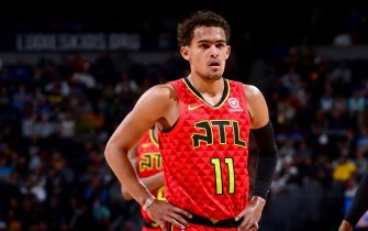 DENVER, CO - NOVEMBER 12: Trae Young #11 of the Atlanta Hawks looks on during a game against the Denver Nuggets on November 12, 2019 at the Pepsi Center in Denver, Colorado. NOTE TO USER: User expressly acknowledges and agrees that, by downloading and/or using this Photograph, user is consenting to the terms and conditions of the Getty Images License Agreement. Mandatory Copyright Notice: Copyright 2019 NBAE (Photo by Bart Young/NBAE via Getty Images)