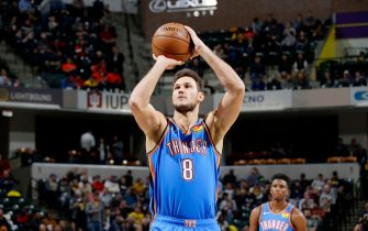 INDIANAPOLIS, IN - NOVEMBER 12: Danilo Gallinari #8 of the Oklahoma City Thunder shoots a free throw during the game against the Indiana Pacers on November 12, 2019 at Bankers Life Fieldhouse in Indianapolis, Indiana. NOTE TO USER: User expressly acknowledges and agrees that, by downloading and or using this Photograph, user is consenting to the terms and conditions of the Getty Images License Agreement. Mandatory Copyright Notice: Copyright 2019 NBAE (Photo by Ron Hoskins/NBAE via Getty Images)