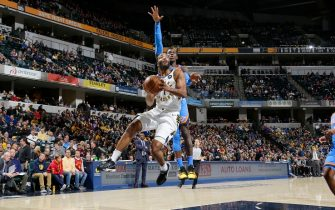 INDIANAPOLIS, IN - NOVEMBER 12: T.J. Warren #1 of the Indiana Pacers shoots the ball against the Oklahoma City Thunder on November 12, 2019 at Bankers Life Fieldhouse in Indianapolis, Indiana. NOTE TO USER: User expressly acknowledges and agrees that, by downloading and or using this Photograph, user is consenting to the terms and conditions of the Getty Images License Agreement. Mandatory Copyright Notice: Copyright 2019 NBAE (Photo by Ron Hoskins/NBAE via Getty Images)