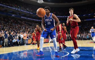PHILADELPHIA, PA - NOVEMBER 12: Joel Embiid #21 of the Philadelphia 76ers reacts during a game against the Cleveland Cavaliers on November 10, 2019 at the Wells Fargo Center in Philadelphia, Pennsylvania NOTE TO USER: User expressly acknowledges and agrees that, by downloading and/or using this Photograph, user is consenting to the terms and conditions of the Getty Images License Agreement. Mandatory Copyright Notice: Copyright 2019 NBAE (Photo by Jesse D. Garrabrant/NBAE via Getty Images)