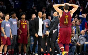 PHILADELPHIA, PA - NOVEMBER 12: Kevin Love #0 of the Cleveland Cavaliers reacts after the game against the Philadelphia 76ers at the Wells Fargo Center on November 12, 2019 in Philadelphia, Pennsylvania. The 76ers defeated the Cavaliers 98-97. NOTE TO USER: User expressly acknowledges and agrees that, by downloading and/or using this photograph, user is consenting to the terms and conditions of the Getty Images License Agreement. (Photo by Mitchell Leff/Getty Images)