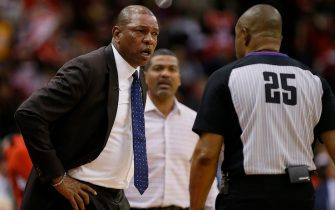 HOUSTON, TEXAS - NOVEMBER 13: Head coach Doc Rivers of the Los Angeles Clippers is ejected by referee Tony Brothers #25 during the fourth quarter against the Houston Rockets at Toyota Center on November 13, 2019 in Houston, Texas. NOTE TO USER: User expressly acknowledges and agrees that, by downloading and/or using this photograph, user is consenting to the terms and conditions of the Getty Images License Agreement.  (Photo by Bob Levey/Getty Images)