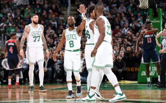 BOSTON, MA - NOVEMBER 13: The Boston Celtics celebrate during the game against the Washington Wizards  on November 13, 2019 at the TD Garden in Boston, Massachusetts.  NOTE TO USER: User expressly acknowledges and agrees that, by downloading and or using this photograph, User is consenting to the terms and conditions of the Getty Images License Agreement. Mandatory Copyright Notice: Copyright 2019 NBAE  (Photo by Brian Babineau/NBAE via Getty Images)