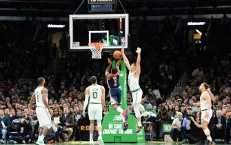 BOSTON, MA - NOVEMBER 13: Bradley Beal #3 of the Washington Wizards scores against Grant Williams #12 of the Boston Celtics in the second half at TD Garden on November 13, 2019 in Boston, Massachusetts. NOTE TO USER: User expressly acknowledges and agrees that, by downloading and or using this photograph, User is consenting to the terms and conditions of the Getty Images License Agreement. (Photo by Kathryn Riley/Getty Images)