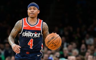 BOSTON, MA - NOVEMBER 13: Isaiah Thomas #4 of the Washington Wizards brings the ball up court in the first half against the Boston Celtics at TD Garden on November 13, 2019 in Boston, Massachusetts. NOTE TO USER: User expressly acknowledges and agrees that, by downloading and or using this photograph, User is consenting to the terms and conditions of the Getty Images License Agreement. (Photo by Kathryn Riley/Getty Images)