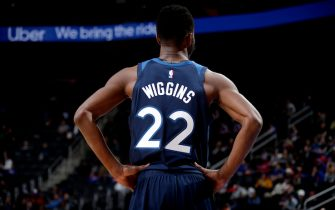 DETROIT, MI - NOVEMBER 11: Andrew Wiggins #22 of the Minnesota Timberwolves looks on against the Detroit Pistons on November 11, 2019 at Little Caesars Arena in Detroit, Michigan. NOTE TO USER: User expressly acknowledges and agrees that, by downloading and/or using this photograph, User is consenting to the terms and conditions of the Getty Images License Agreement. Mandatory Copyright Notice: Copyright 2019 NBAE (Photo by Brian Sevald/NBAE via Getty Images)