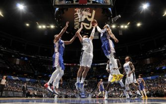 ORLANDO, FL - NOVEMBER 13: Nikola Vucevic #9 of the Orlando Magic shoots the ball against the Philadelphia 76ers on November 13, 2019 at Amway Center in Orlando, Florida. NOTE TO USER: User expressly acknowledges and agrees that, by downloading and or using this photograph, User is consenting to the terms and conditions of the Getty Images License Agreement. Mandatory Copyright Notice: Copyright 2019 NBAE (Photo by Fernando Medina/NBAE via Getty Images)