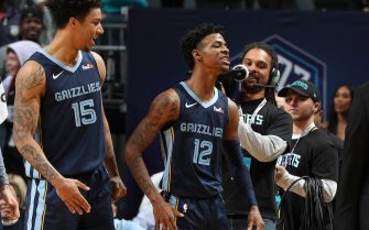 CHARLOTTE, NC - NOVEMBER 13: Brandon Clarke #15 of the Memphis Grizzlies and Ja Morant #12 of the Memphis Grizzlies react during a game against the Charlotte Hornets on November 7, 2019 at Spectrum Center in Charlotte, North Carolina. NOTE TO USER: User expressly acknowledges and agrees that, by downloading and or using this photograph, User is consenting to the terms and conditions of the Getty Images License Agreement.  Mandatory Copyright Notice:  Copyright 2019 NBAE (Photo by Kent Smith/NBAE via Getty Images)