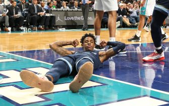 CHARLOTTE, NC - NOVEMBER 13: Ja Morant #12 of the Memphis Grizzlies reacts during a game against the Charlotte Hornets on November 7, 2019 at Spectrum Center in Charlotte, North Carolina. NOTE TO USER: User expressly acknowledges and agrees that, by downloading and or using this photograph, User is consenting to the terms and conditions of the Getty Images License Agreement.  Mandatory Copyright Notice:  Copyright 2019 NBAE (Photo by Kent Smith/NBAE via Getty Images)