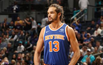 CHARLOTTE, NC - DECEMBER 18:  Joakim Noah #13 of the New York Knicks looks on during the game against the Charlotte Hornets on December 18, 2017 at Spectrum Center in Charlotte, North Carolina. NOTE TO USER: User expressly acknowledges and agrees that, by downloading and or using this photograph, User is consenting to the terms and conditions of the Getty Images License Agreement.  Mandatory Copyright Notice:  Copyright 2017 NBAE (Photo by Brock Williams-Smith/NBAE via Getty Images)