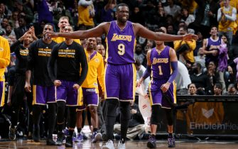 BROOKLYN, NY - December 14: Luol Deng #9 of the Los Angeles Lakers reacts during a game between the Los Angeles Lakers and the Brooklyn Nets on December 14, 2016 at Barclays Center in Brooklyn, NY. NOTE TO USER: User expressly acknowledges and agrees that, by downloading and/or using this Photograph, user is consenting to the terms and conditions of the Getty Images License Agreement. Mandatory Copyright Notice: Copyright 2016 NBAE (Photo by Nathaniel S. Butler/NBAE via Getty Images)