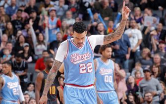 SACRAMENTO, CA - FEBRUARY 10: Matt Barnes #22 of the Sacramento Kings looks on during the game against the Atlanta Hawks on February 10, 2017 at Golden 1 Center in Sacramento, California. NOTE TO USER: User expressly acknowledges and agrees that, by downloading and or using this photograph, User is consenting to the terms and conditions of the Getty Images Agreement. Mandatory Copyright Notice: Copyright 2017 NBAE (Photo by Rocky Widner/NBAE via Getty Images)