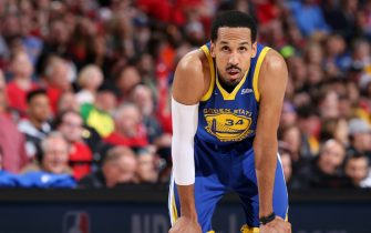 PORTLAND, OR - MAY 20:  Shaun Livingston #34 of the Golden State Warriors looks on during Game Four of the Western Conference Finals against the Portland Trail Blazers on May 20, 2019 at the Moda Center in Portland, Oregon. NOTE TO USER: User expressly acknowledges and agrees that, by downloading and/or using this photograph, user is consenting to the terms and conditions of the Getty Images License Agreement. Mandatory Copyright Notice: Copyright 2019 NBAE (Photo by Sam Forencich/NBAE via Getty Images)