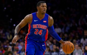 PHILADELPHIA, PA - OCTOBER 15: Joe Johnson #24 of the Detroit Pistons dribbles the ball against the Philadelphia 76ers in the third quarter of the preseason game at the Wells Fargo Center on October 15, 2019 in Philadelphia, Pennsylvania. The 76ers defeated the Pistons 106-86. NOTE TO USER: User expressly acknowledges and agrees that, by downloading and or using this photograph, User is consenting to the terms and conditions of the Getty Images License Agreement. (Photo by Mitchell Leff/Getty Images) *** Local Caption *** Joe Johnson
