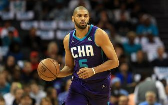 CHARLOTTE, NORTH CAROLINA - OCTOBER 23: Nicolas Batum #5 of the Charlotte Hornets during their game at Spectrum Center on October 23, 2019 in Charlotte, North Carolina. NOTE TO USER: User expressly acknowledges and agrees that, by downloading and or using this photograph, User is consenting to the terms and conditions of the Getty Images License Agreement.  (Photo by Streeter Lecka/Getty Images)