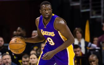 CLEVELAND, OH - DECEMBER 17: Luol Deng #9 of the Los Angeles Lakers drives during the first half against the Cleveland Cavaliers at Quicken Loans Arena on December 17, 2016 in Cleveland, Ohio. NOTE TO USER: User expressly acknowledges and agrees that, by downloading and/or using this photograph, user is consenting to the terms and conditions of the Getty Images License Agreement. Mandatory copyright notice. (Photo by Jason Miller/Getty Images)
