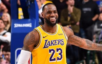 DALLAS, TX - NOVEMBER 1: LeBron James #23 of the Los Angeles Lakers smiles during the game against the Dallas Mavericks on November 1, 2019 at the American Airlines Center in Dallas, Texas. NOTE TO USER: User expressly acknowledges and agrees that, by downloading and/or using this Photograph, user is consenting to the terms and conditions of the Getty Images License Agreement. Mandatory Copyright Notice: Copyright 2019 NBAE (Photo by Jesse D. Garrabrant/NBAE via Getty Images)