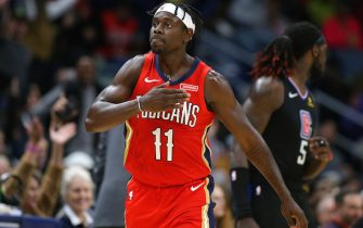 NEW ORLEANS, LOUISIANA - NOVEMBER 14: Jrue Holiday #11 of the New Orleans Pelicans celebrates during the second half of a game against the LA Clippers at the Smoothie King Center on November 14, 2019 in New Orleans, Louisiana. NOTE TO USER: User expressly acknowledges and agrees that, by downloading and or using this Photograph, user is consenting to the terms and conditions of the Getty Images License Agreement.  (Photo by Jonathan Bachman/Getty Images)
