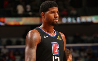 NEW ORLEANS, LA - NOVEMBER 14: Paul George #13 of the LA Clippers looks on during the game against the New Orleans Pelicans on November 14, 2019 at the Smoothie King Center in New Orleans, Louisiana. NOTE TO USER: User expressly acknowledges and agrees that, by downloading and or using this Photograph, user is consenting to the terms and conditions of the Getty Images License Agreement. Mandatory Copyright Notice: Copyright 2019 NBAE (Photo by Layne Murdoch Jr./NBAE via Getty Images)