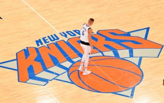 NEW YORK, NY - NOVEMBER 14: Kristaps Porzingis #6 of the Dallas Mavericks looks on during a game against the New York Knicks on November 14, 2019 at Madison Square Garden in New York City, New York.  NOTE TO USER: User expressly acknowledges and agrees that, by downloading and or using this photograph, User is consenting to the terms and conditions of the Getty Images License Agreement. Mandatory Copyright Notice: Copyright 2019 NBAE  (Photo by Jesse D. Garrabrant/NBAE via Getty Images)
