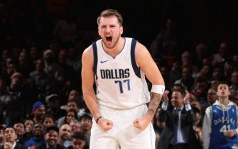 NEW YORK, NY - NOVEMBER 14: Luka Doncic #77 of the Dallas Mavericks celebrates during a game against the New York Knicks on November 14, 2019 at Madison Square Garden in New York City, New York.  NOTE TO USER: User expressly acknowledges and agrees that, by downloading and or using this photograph, User is consenting to the terms and conditions of the Getty Images License Agreement. Mandatory Copyright Notice: Copyright 2019 NBAE  (Photo by Nathaniel S. Butler/NBAE via Getty Images)